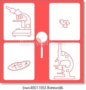 Art Print Of Stylized Icons Of Microscopes Magnifier Amoeba