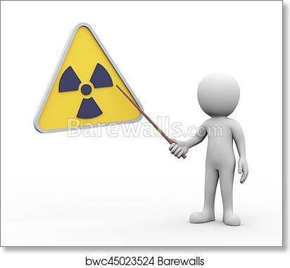 Art Print Of 3d Man Presenting Explaining Radioactive Radiation