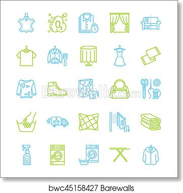 art print of dry cleaning laundry line icons launderette service