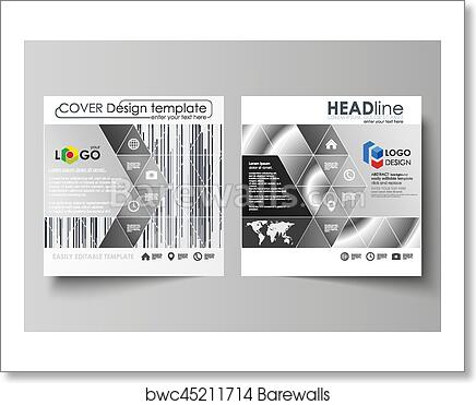 art print of business templates for square design brochure magazine flyer booklet report leaflet cover abstract vector layout simple monochrome