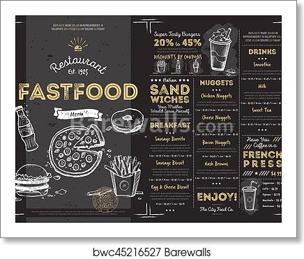 Art Print Of Restaurant Cafe Fast Food Menu Template