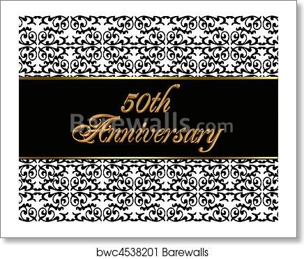 50th Anniversary Invitation Card Art Print Poster
