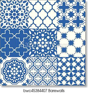 Moroccan Tiles Design Seamless Navy