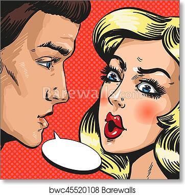art print of vector pop art illustration of couple talking to each