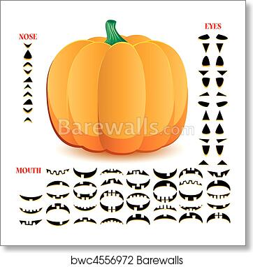 art print of halloween pumpkin with big set of mouths eyes and