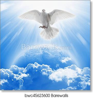 Art Print Of White Dove Symbol Of Love And Peace Flies Above Planet