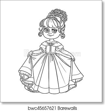 Beautiful Little Princess Curtsies Outlined For Coloring Book Isolated On White Background Art Print Barewalls Posters Prints Bwc45657621