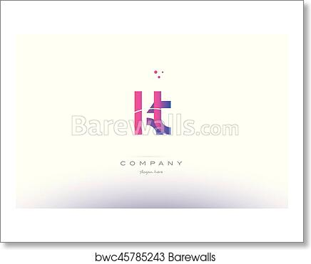 Art Print Of Kt K T Pink Modern Creative Alphabet Letter Logo Icon Template