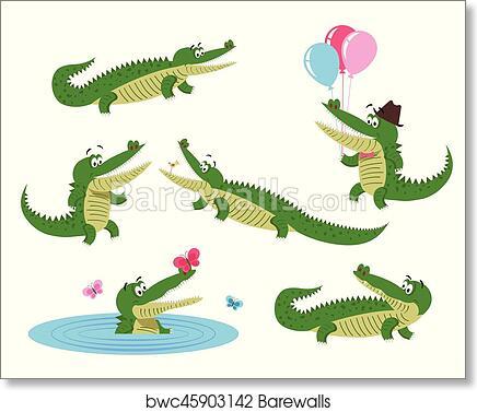 ALLIGATOR crocodile 8x10  art PRINT artist impressionism animals gift new