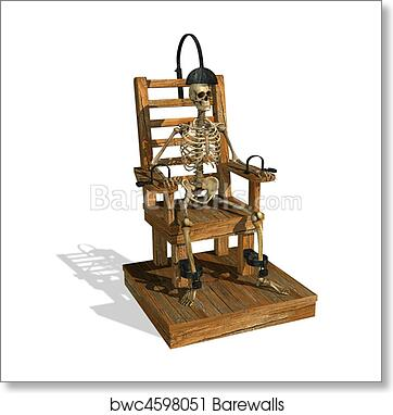 art print of electric chair with skeleton barewalls posters