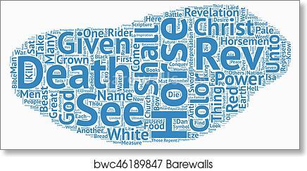 The Four Horsemen of the Apocalypse text background wordcloud concept art  print poster