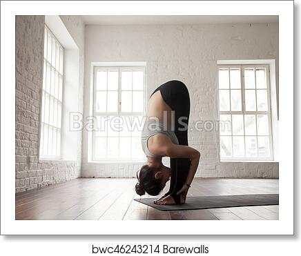Art Print Of Young Woman In Head To Knees Pose White Loft Studio