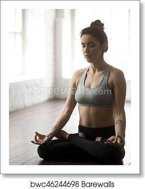 Art Print Of Young Attractive Woman Sitting In Lotus White Loft Studio Backg