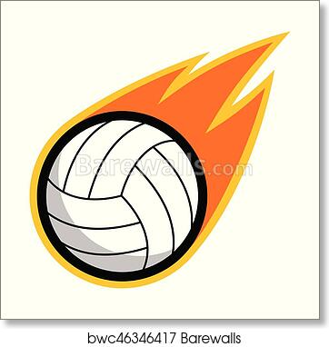 Volleyball Leather Sport Comet Fire Tail Flying Logo Art Print Barewalls Posters Prints Bwc46346417