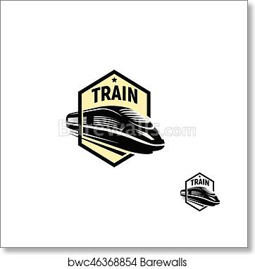 Isolated abstract black color train in square logo on white background,  monochrome modern railway transport logotype, railroad element in engraving  ...