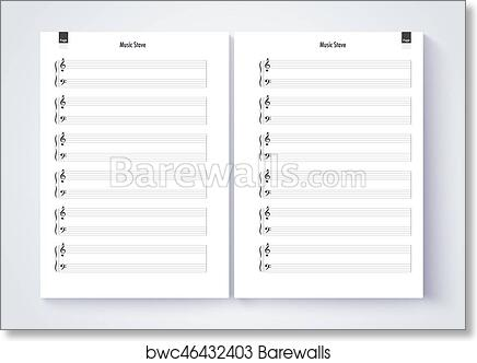 art print of music stave template blank stave note paper blank music note page vector eps10 barewalls posters prints bwc46432403