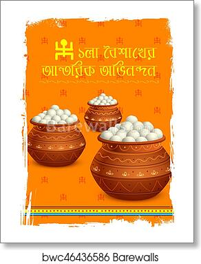 Greeting background with Bengali text Poila Boisakher Antarik Abhinandan  meaning Heartiest Wishing for Happy New Year art print poster