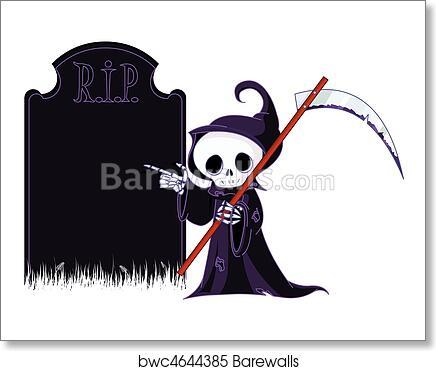 Cartoon Grim Reaper Pointing To Art Print Barewalls Posters Prints Bwc4644385