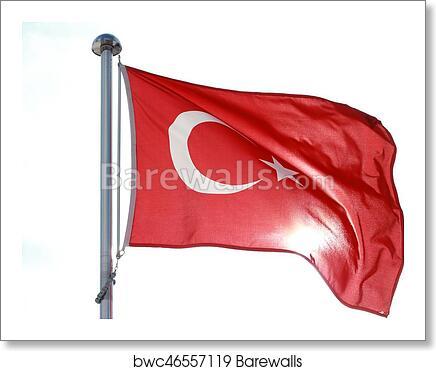 art print of moon star turkish flag barewalls posters prints