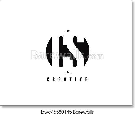 Art Print Of CS C S White Letter Logo Design With Circle Background