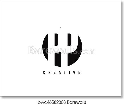 Art Print Of Pp P White Letter Logo Design With Circle Background