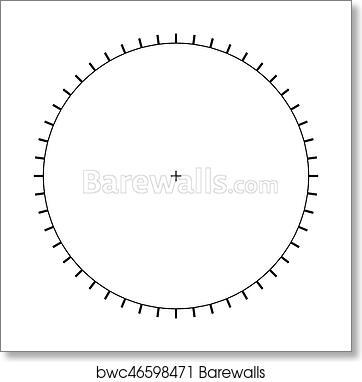 Art Print of Blank Polar Graph Paper - protractor - Pie Chart vector ...