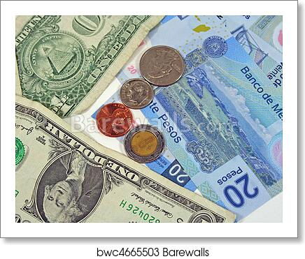 American And Mexican Money Art Print