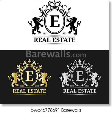 Vector Real Estate Monogram Logo Templates Luxury Letters Design Graceful Vintage Characters With Crown And Lion Symbols Art Print Barewalls Posters Prints Bwc46778691