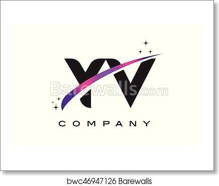 Art Print Of YV Y V Black Letter Logo Design With Purple Magenta Swoosh