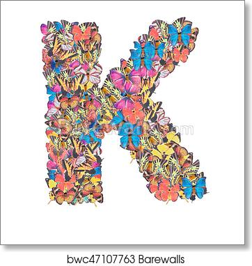 Art Print Of Letter K Alphabet With Butterfly Abc Concept Type As