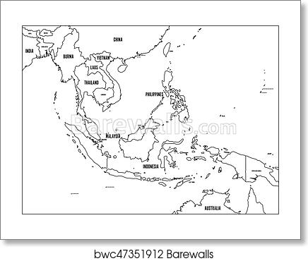 Outline Map Of Asia Political.South East Asia Political Map Black Outline On White Background With Black Country Name Labels Simple Flat Vector Illustration Art Print Poster