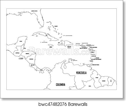 Central America and Carribean states political map. Black outline borders  with black country names labels. Simple flat vector illustration art print  ...