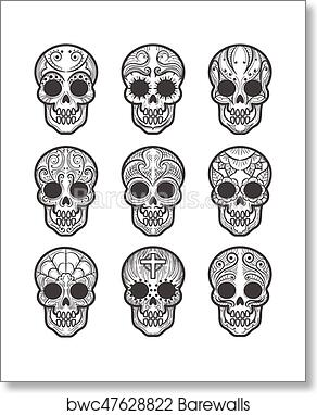 Calavera Or Sugar Skull Tattoo Set Art Print Barewalls Posters Prints Bwc47628822