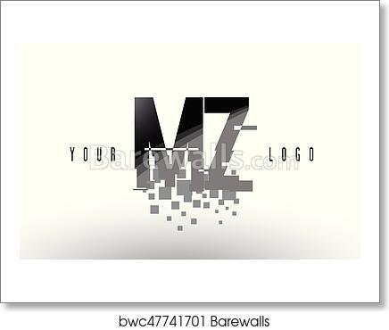 MZ M Z Pixel Letter Logo with Digital Shattered Black Squares art print  poster