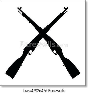 Old military rifles art print poster