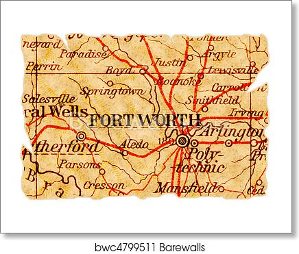 Fort Worth old map art print poster
