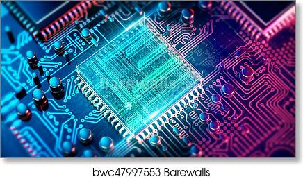 Circuit Board Electronic Computer Hardware Technology Motherboard Digital Chip Tech Science Eda Background Integrated Communication Processor Information Cpu Engineering 3d Background Art Print Barewalls Posters Prints Bwc47997553