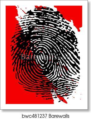 Black Fingerprint And Blood Splatter Art Print