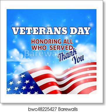 Art Print Of Veterans Day American Flag Background Sky Barewalls