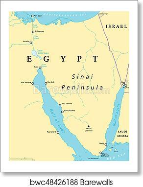 Egypt, Sinai Peninsula political map art print poster