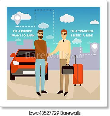 Carpooling Concept Vector Illustration In Cartoon Style Carpool And