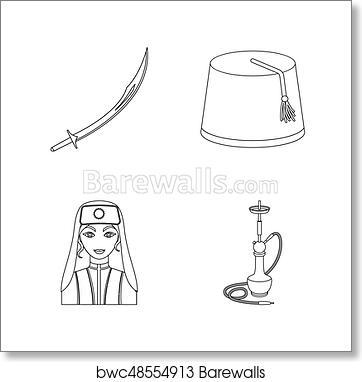 Turkish fez, yatogan, turkish, hookah  Turkey set collection icons in  outline style raster, bitmap symbol stock illustration web  art print poster