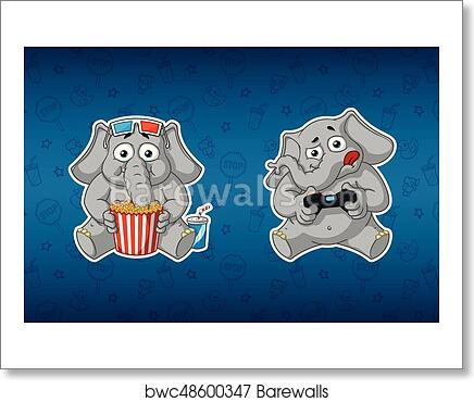 Art print of sticker elephant he watches a movie and plays in the console 3d glasses gamepad big set of stickers in english and russian languages