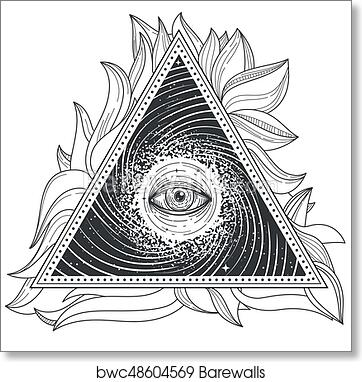 Tattoo Illustration Abstract Sacred Geometry With An All Seeing Eye Art Print Poster