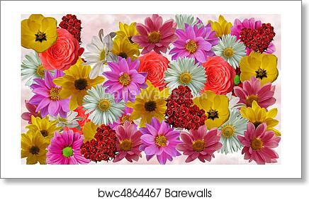 art print of flower collage template barewalls posters prints