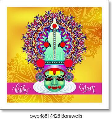 Indian Kathakali Dancer Face Decorative Modern Vector Illustrati