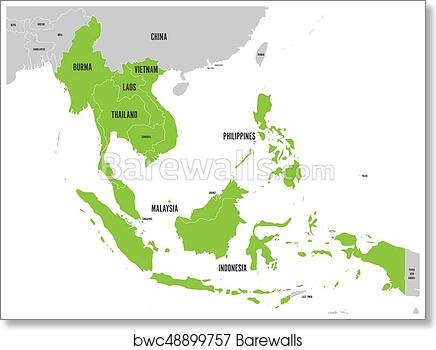 picture about Printable Map of Southeast Asia referred to as ASEAN Economical Nearby, AEC, map. Gray map with inexperienced featured member international locations, Southeast Asia. Vector instance artwork print poster