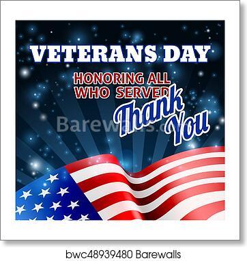 Art Print Of American Flag Veterans Day Background Barewalls