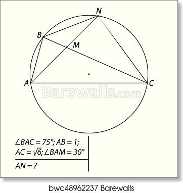 Art Print of Task for calculating the chord of a circle | Barewalls ...