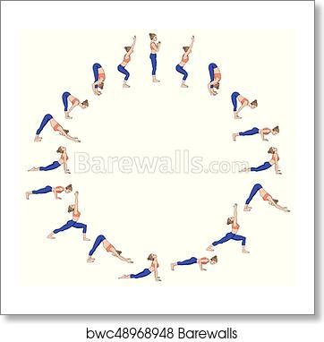 sun salutation surya namaskara b yoga sequence art